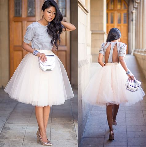 white tulle ballet pleated circle a line flare knee