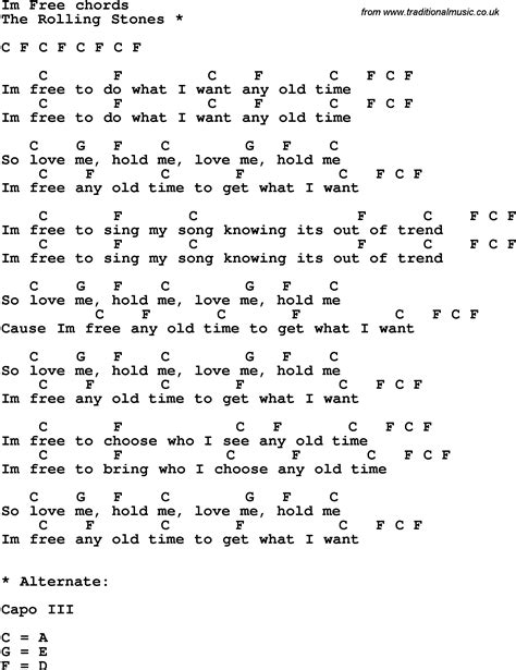 lyrics free free lyrics chords