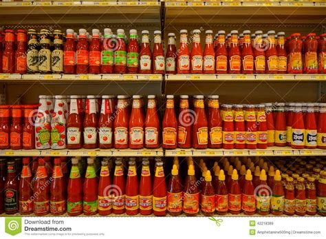 Shelf Of Chili by Chili Sauce And Catsup Editorial Stock Image Image 42218389