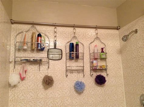 Bathroom Caddy Ideas Easy Shower Organization For A Family Of Five Shower Rod Across The Back Of The Shower And