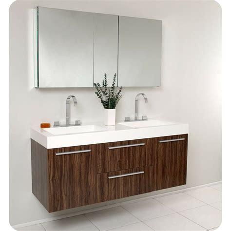 fresca opulento walnut modern double sink bathroom vanity  medicine cabinet ebay