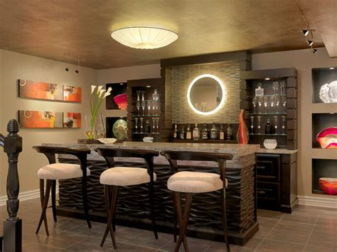 lower level bar contemporary living room other metro what material is used for the textured bar front