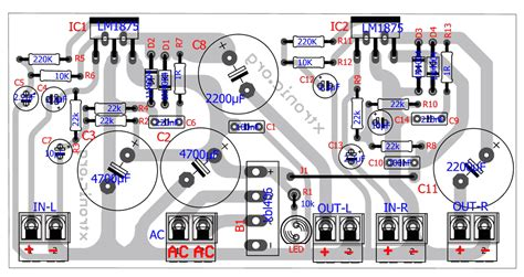 layout pcb power supply circuit power lifier stereo audio with lm1875 2 x 20
