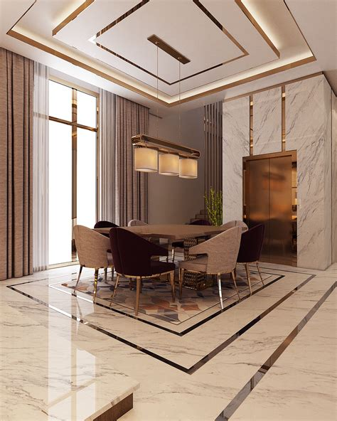 luxury modern villa qatar  behance interiors