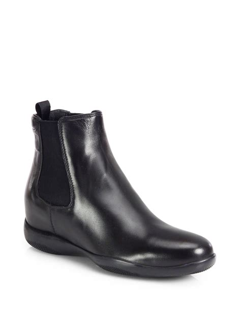 black leather chelsea boots prada leather chelsea boots in black lyst