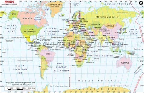 world map image latitude longitude carte du monde avec latitude et longitude