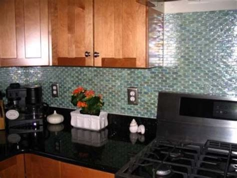 aqua blue oval glass tile backsplash contemporary