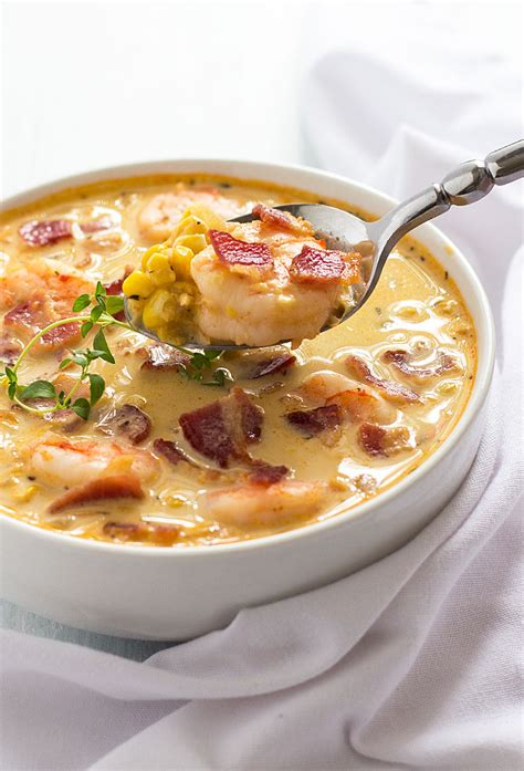 Shrimp And Corn Chowder by Bacon Shrimp And Corn Chowder The Blond Cook