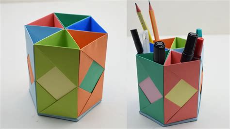 Origami Standing - how to make pen stand origami pen holder paper