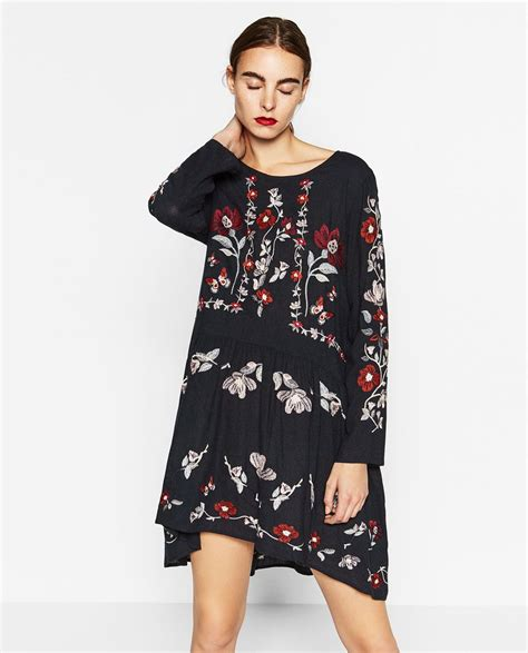 embroidered dress dresses woman zara united states clothes  covet embroidery dress