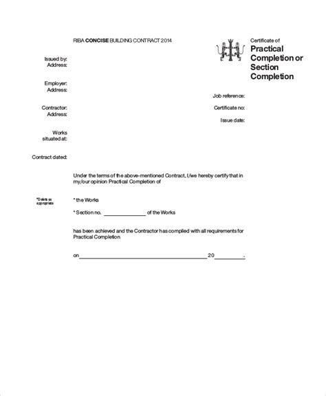 riba practical completion certificate template jct