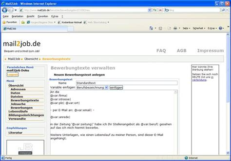 Anrede Bewerbung Mehrere Namen Mail2job Benutzer Dokumentation