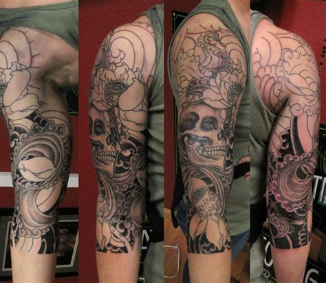 half sleeve skull tattoos skull images designs