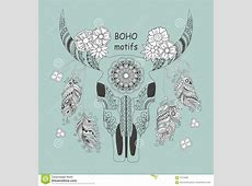 Boho Card With Cow Skull And Flowers Stock Vector - Image ... Tribal Print Pattern Black And White