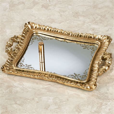 Gold Vanity Tray by Melyna Gold Mirrored Vanity Tray