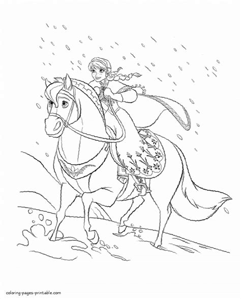 frozen horse coloring pages anna ride a horse coloring page