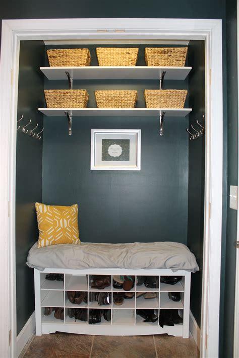 coat closet turned  mudroom nook perfect  small