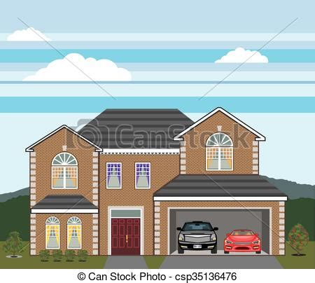 drawing of a house with garage house with open garage 2 cars open garage brick real