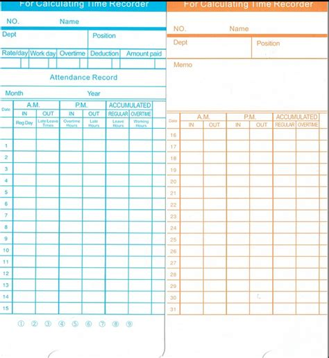 attendance punch card template punch card electronic time recorder with 50 free time card