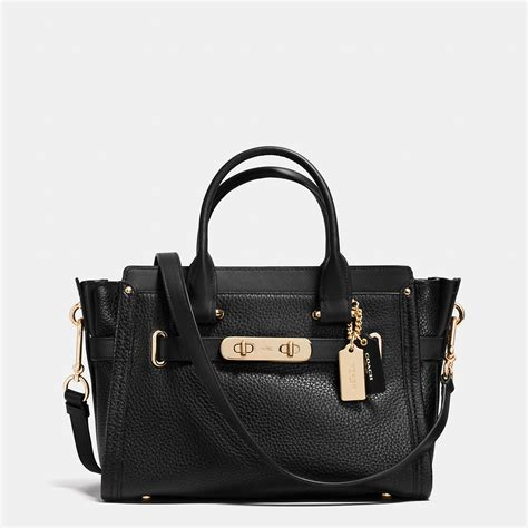 Coach Swagger 27 In Pabble Leather lyst coach swagger 27 in pebble leather in black