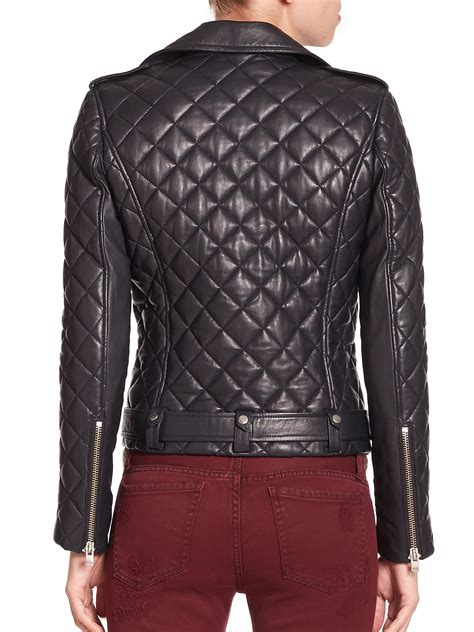 Quilted Moto Jacket S by Iro Keroa Quilted Leather Moto Jacket In Blue Lyst