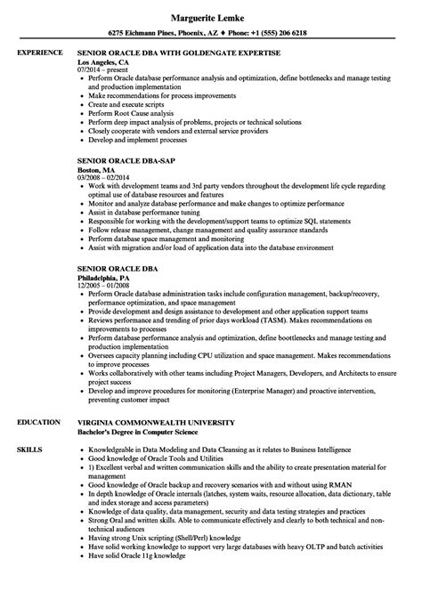 Oracle Dba Resume by Senior Oracle Dba Resume Sles Velvet