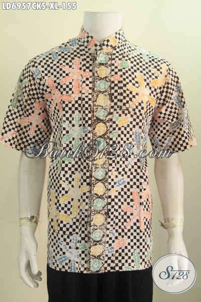 Kemeja Batik Pria Kerah Sanghai pakaian batik pria dewasa size xl kemeja batik kerah shanghai halus motif trendy buatan
