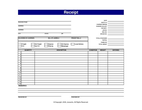 7 best images of blank printable receipt templates free