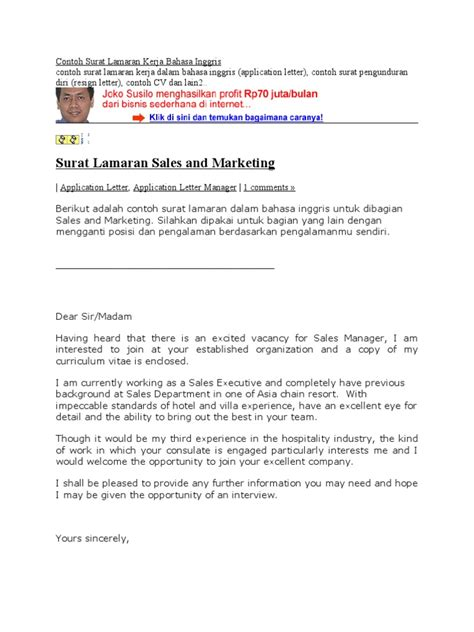 contoh application letter marketing executive contoh surat lamaran kerja bahasa inggris hotel and