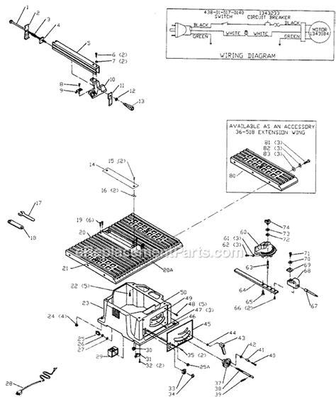 delta bench saw parts delta 36 510 parts list and diagram type 2
