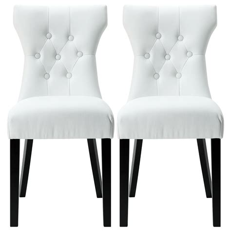 set   modern dining chair faux leather nailhead upholstered blackwhite ebay