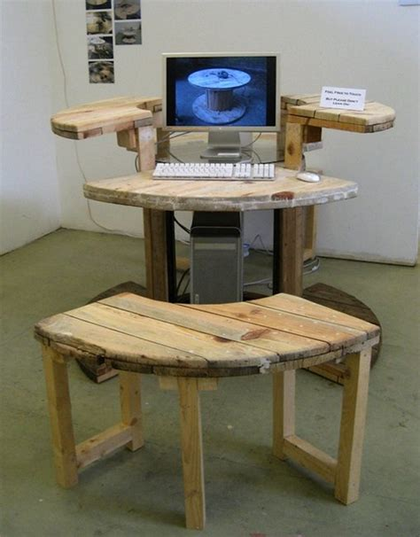 Make Computer Desk Make Computer Desk From Cable Reel Gentlemint