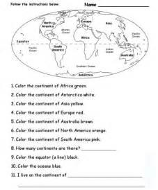continents oceans worksheet c2 w1 homeschool