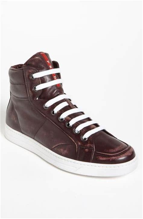 maroon prada sneakers prada avenue sneakers in purple for burgundy lyst