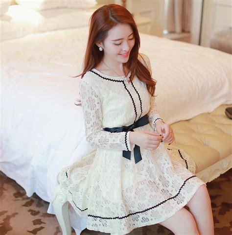 Baju Blouse Atasan Wanita Renda Cantik Korea Murah kemeja kerja wanita import kombinasi renda brokat model