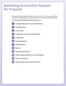 rfp questions template sle marketing automation rfp template hashdoc