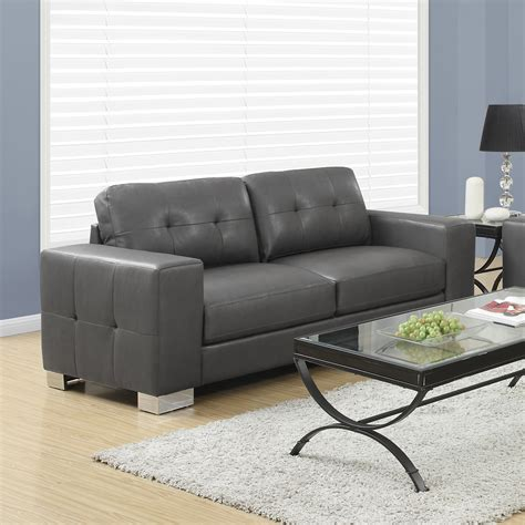 Jasmine Modern Leather Sofa In Grey Modern Living Room Leather Sofa Grey