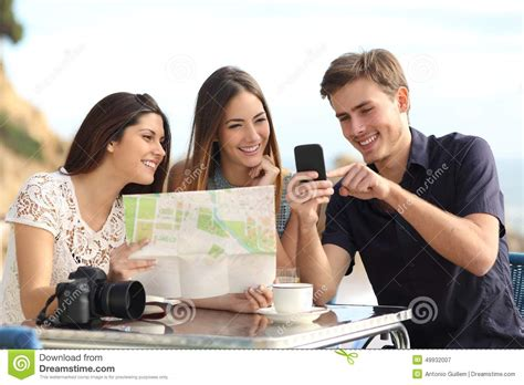 Friends On by Of Tourist Friends Consulting Gps Map In A