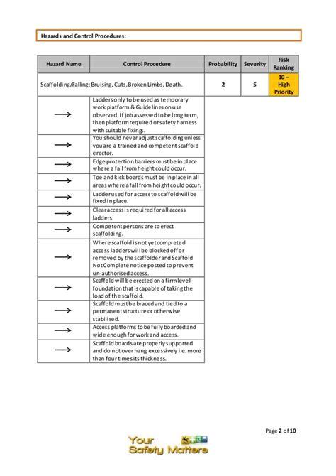 scaffolding risk assessment template scaffolding risk assessment template choice image free