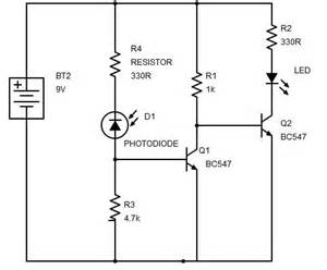 sensor using transistor phototransistor and photodiode build circuit