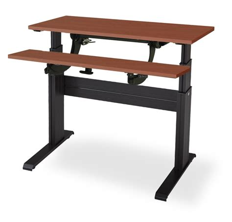 electric sit to stand desk newheights split work surface electric sit to stand desk