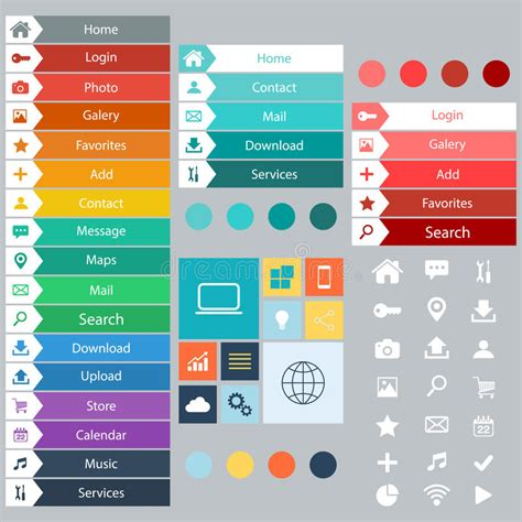website design layout elements flat web design elements buttons icons templates for
