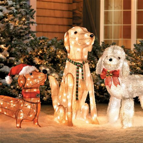 pre lit tinsel dog decorations already ideas decorating