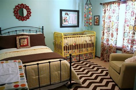 Small Spaces Shared Children S Spaces Bed And Crib In Same Room
