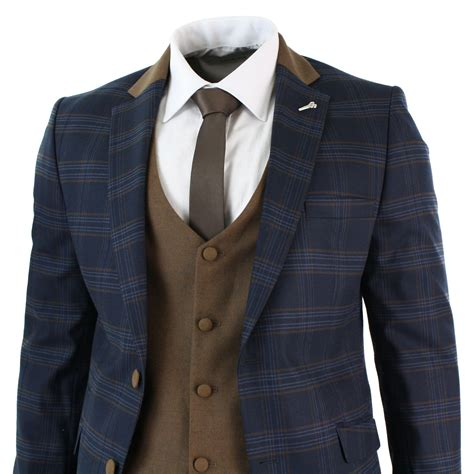 Set Check Blazer Vest Check mens 3 tweed check navy blue 3 suit slim fit