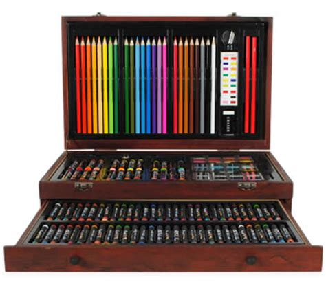 creative gift 138 piece complete wooden art box set for