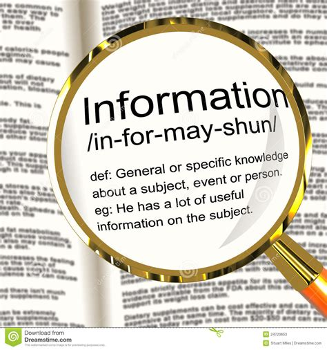 facts and information information definition magnifier showing knowledge data and fact stock photos image