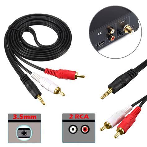 Lexcron Cable 3 5 Audio 1 Meter Economic Hitam 50cm 1m 2m 3m 5m 3 5mm to 2 rca phono audio