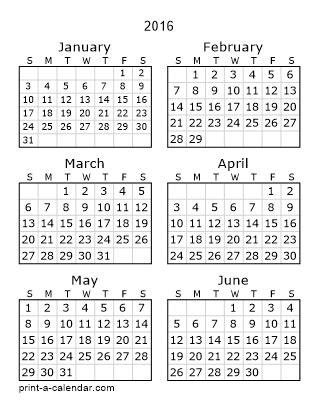Six Month Calendar 2016