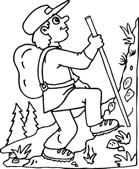 Transmissionpress Hiking The Mountain In Summer Coloring Mountain Coloring Page 2